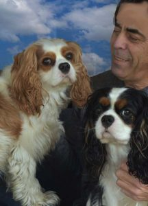 Tom Lyttleton and his dogs Charlie and Willie